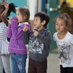 PreKindergarten students line up